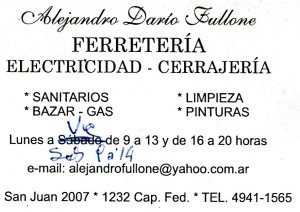 Ferretería Fullone - San Juan 2007, C.A.B.A.